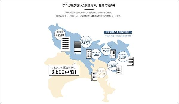 グローバルベイスの物件販売エリア図