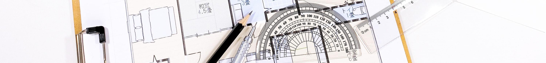 住宅設計図と鉛筆