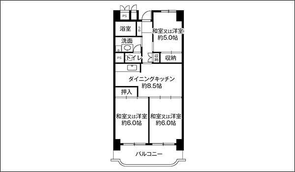 ビレッジハウスの間取り図の一例